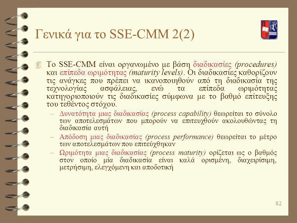 82 Γενικά για το SSE-CMM 2(2) 4 Το SSE-CMM είναι οργανωμένο με βάση διαδικασίες (procedures) και επίπεδα ωριμότητας (maturity levels). Οι διαδικασίες