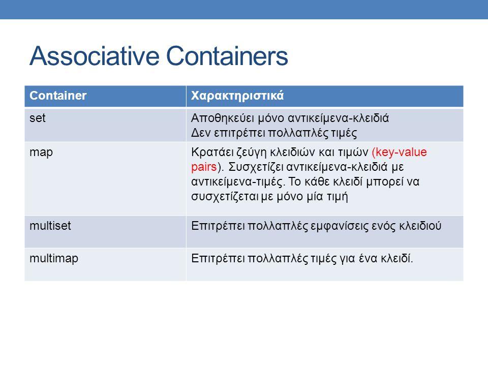 Associative Containers ContainerΧαρακτηριστικά setΑποθηκεύει μόνο αντικείμενα-κλειδιά Δεν επιτρέπει πολλαπλές τιμές mapΚρατάει ζεύγη κλειδιών και τιμών (key-value pairs).