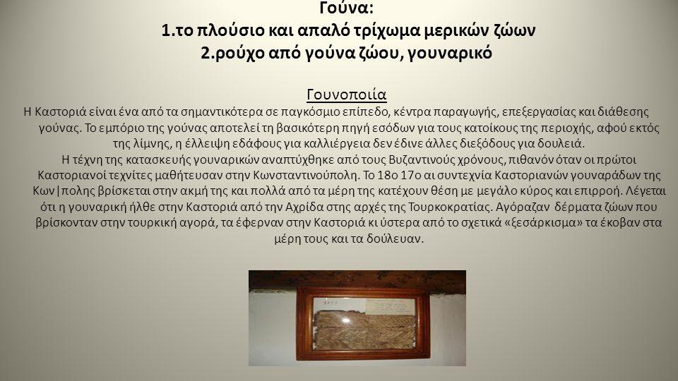 Γούνα: 1.το πλούσιο και απαλό τρίχωμα μερικών ζώων 2.ρούχο από γούνα ζώου, γουναρικό Γουνοποιία Η Καστοριά είναι ένα από τα σημαντικότερα σε παγκόσμιο