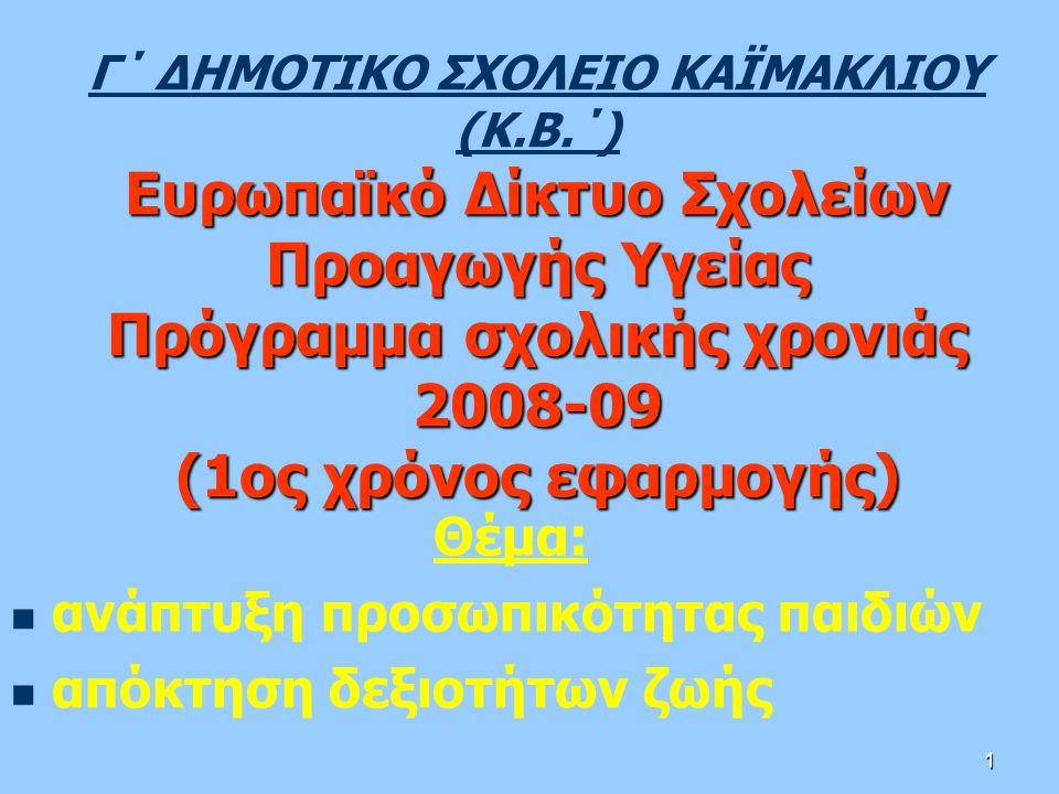 1 Ευρωπαϊκό Δίκτυο Σχολείων Προαγωγής Υγείας Πρόγραμμα σχολικής χρονιάς 2008-09 (1ος χρόνος εφαρμογής) Γ΄ ΔΗΜΟΤΙΚΟ ΣΧΟΛΕΙΟ ΚΑΪΜΑΚΛΙΟΥ (Κ.Β.΄) Ευρωπαϊκό Δίκτυο Σχολείων Προαγωγής Υγείας Πρόγραμμα σχολικής χρονιάς 2008-09 (1ος χρόνος εφαρμογής) Θέμα: ανάπτυξη προσωπικότητας παιδιών απόκτηση δεξιοτήτων ζωής