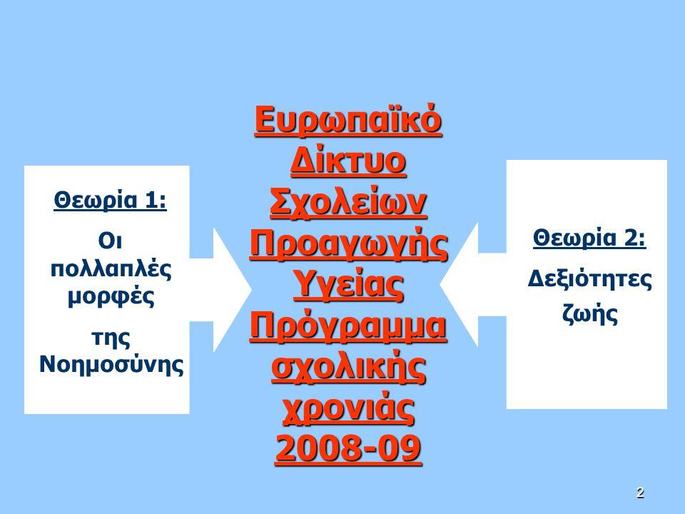 2 Ευρωπαϊκό Δίκτυο Σχολείων Προαγωγής Υγείας Πρόγραμμα σχολικής χρονιάς 2008-09 Θεωρία 1: Οι πολλαπλές μορφές της Νοημοσύνης Θεωρία 2: Δεξιότητες ζωής