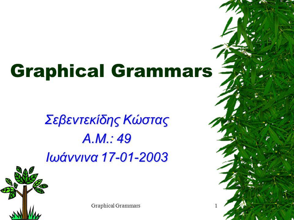 Graphical Grammars1 Σεβεντεκίδης Κώστας Α.Μ.: 49 Ιωάννινα 17-01-2003