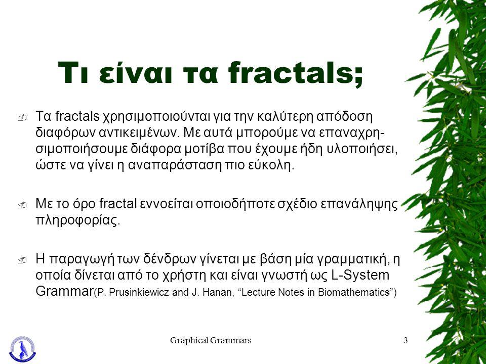 Graphical Grammars3 Τι είναι τα fractals;  Τα fractals χρησιμοποιούνται για την καλύτερη απόδοση διαφόρων αντικειμένων. Με αυτά μπορούμε να επαναχρη-