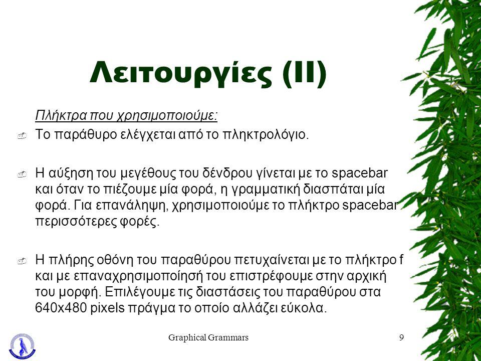 Graphical Grammars9 Λειτουργίες (ΙΙ) Πλήκτρα που χρησιμοποιούμε:  Το παράθυρο ελέγχεται από το πληκτρολόγιο.  Η αύξηση του μεγέθους του δένδρου γίνε