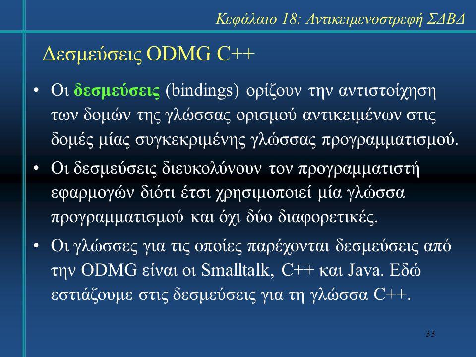 33 Δεσμεύσεις ODMG C++ Οι δεσμεύσεις (bindings) ορίζουν την αντιστοίχηση των δομών της γλώσσας ορισμού αντικειμένων στις δομές μίας συγκεκριμένης γλώσ