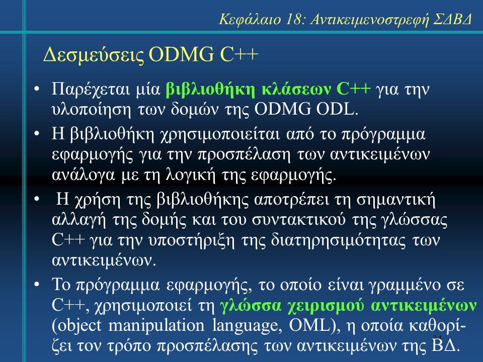 34 Δεσμεύσεις ODMG C++ Παρέχεται μία βιβλιοθήκη κλάσεων C++ για την υλοποίηση των δομών της ODMG ODL. Η βιβλιοθήκη χρησιμοποιείται από το πρόγραμμα εφ