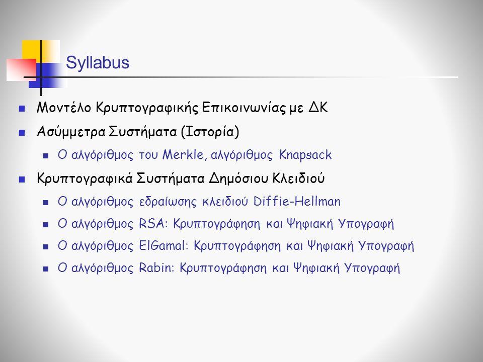 Syllabus Μοντέλο Κρυπτογραφικής Επικοινωνίας με ΔΚ Ασύμμετρα Συστήματα (Ιστορία) Ο αλγόριθμος του Merkle, αλγόριθμος Knapsack Κρυπτογραφικά Συστήματα