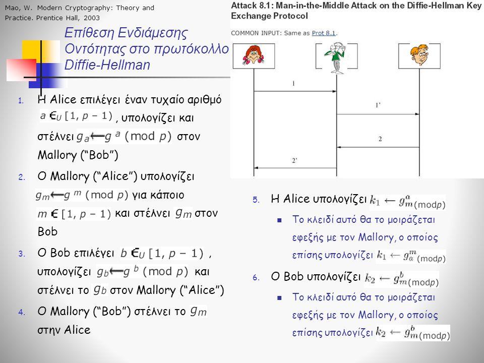 """Επίθεση Ενδιάμεσης Οντότητας στο πρωτόκολλο Diffie-Hellman 1. Η Alice επιλέγει έναν τυχαίο αριθμό, υπολογίζει και στέλνει στον Mallory (""""Bob"""") 2. Ο Ma"""