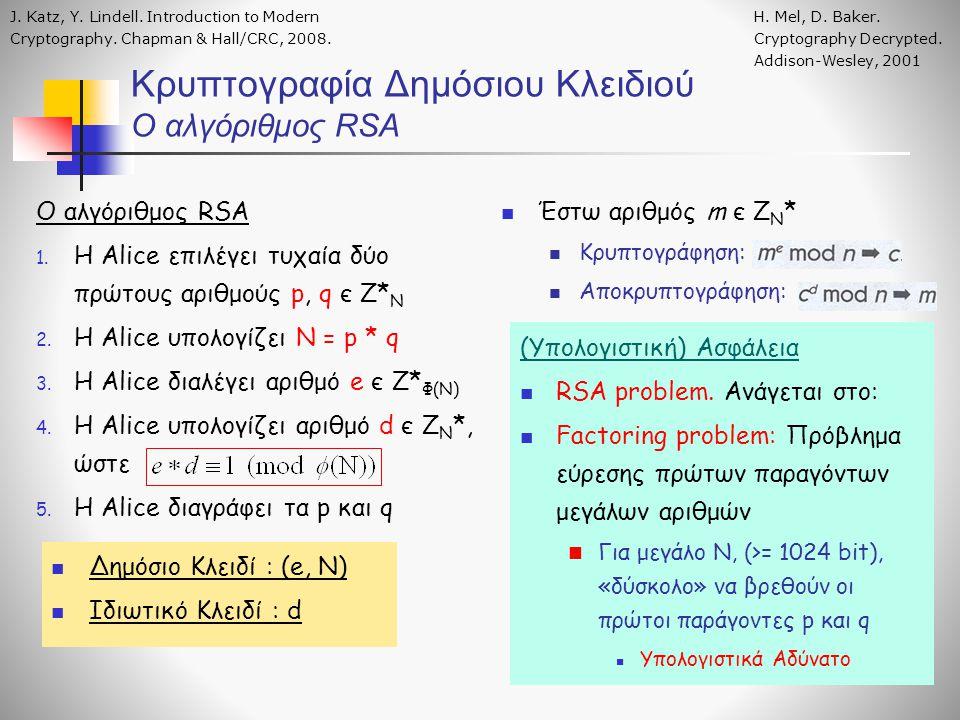 Ο αλγόριθμος RSA 1. H Alice επιλέγει τυχαία δύο πρώτους αριθμούς p, q є Ζ* Ν 2. Η Alice υπολογίζει N = p * q 3. H Alice διαλέγει αριθμό e є Ζ* Φ(Ν) 4.