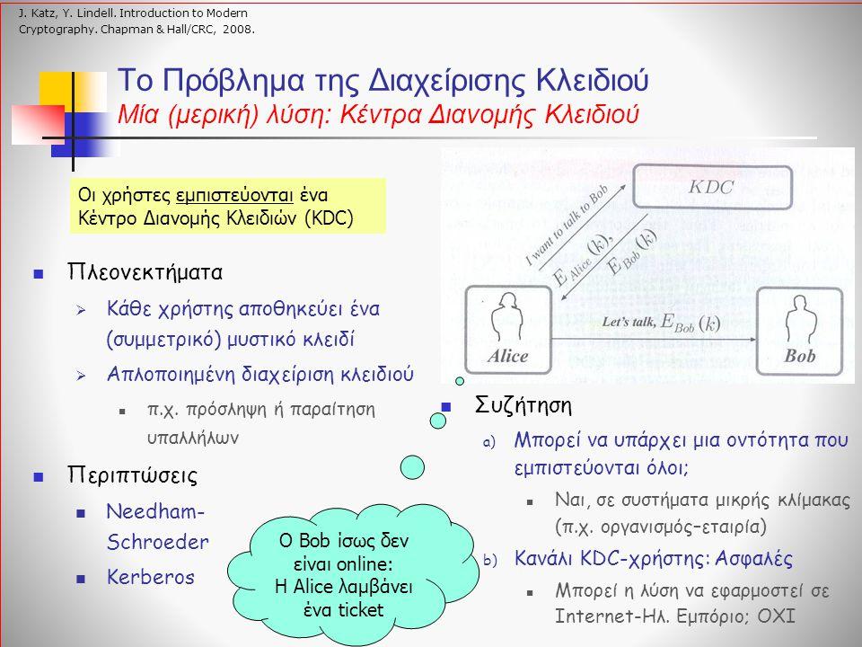 Αλγόριθμοι Δημόσιου Κλειδιού Συμμετρικοί αλγόριθμοι Παραλληλισμός: «ένα χρηματοκιβώτιο» - ο ίδιος κωδικός χρησιμοποιείται για την εισαγωγή και εξαγωγή ενός εγγράφου Αλγόριθμοι Δημόσιου Κλειδιού Παραλληλισμός: «ένα γραμματοκιβώτιο» - όλοι μπορούν να εισάγουν ένα έγγραφο, μόνον ο κάτοχος μπορεί να το εξάγει Συναρτήσεις Μονής Κατεύθυνσης με Μυστική Πληροφορία Trapdoor one-way functions Κρυπτογράφηση: Εύκολη Οποιοσδήποτε μπορεί να κρυπτογραφήσει με το ΔΚ Αποκρυπτογράφηση: «Δύσκολη» Μόνον αυτός που έχει το ΙΚ μπορεί να αποκρυπτογραφήσει Υπολογιστική Ασφάλεια (Computational Security) Schneier, Bruce.
