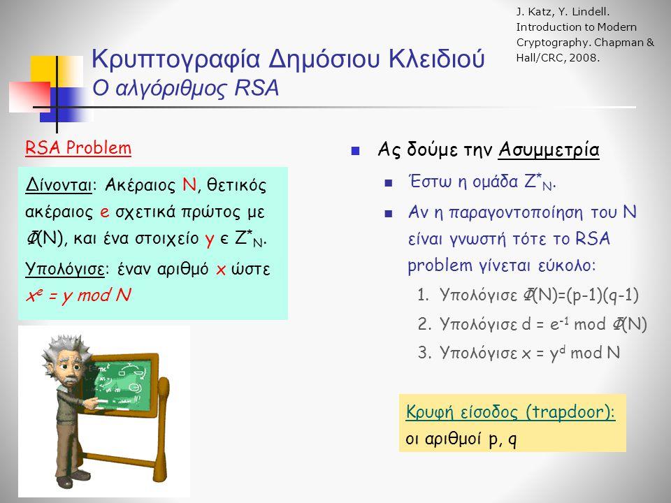 Κρυπτογραφία Δημόσιου Κλειδιού Ο αλγόριθμος RSA J. Katz, Y. Lindell. Introduction to Modern Cryptography. Chapman & Hall/CRC, 2008. RSA Problem Ας δού