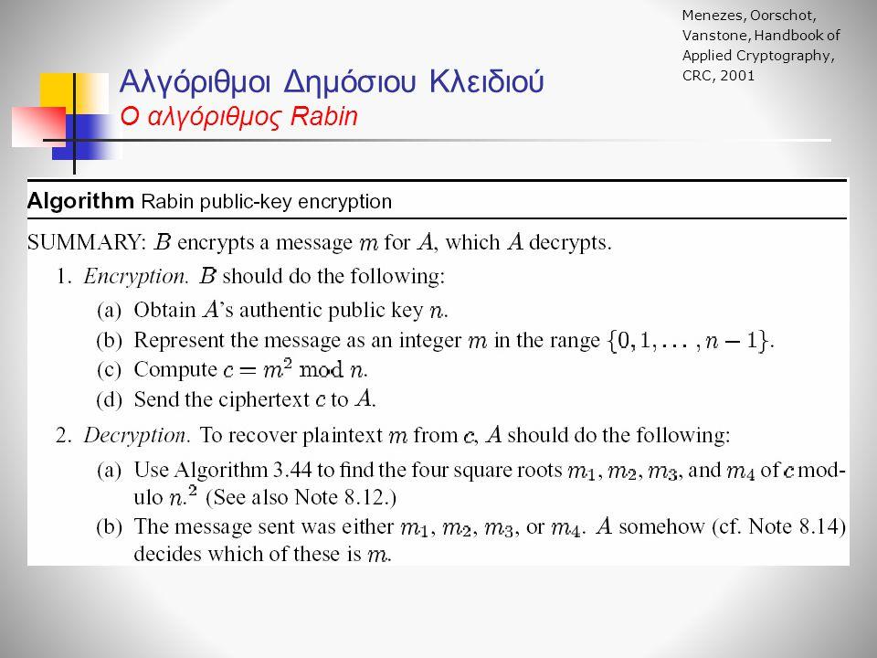 Αλγόριθμοι Δημόσιου Κλειδιού O αλγόριθμος Rabin Menezes, Oorschot, Vanstone, Handbook of Applied Cryptography, CRC, 2001