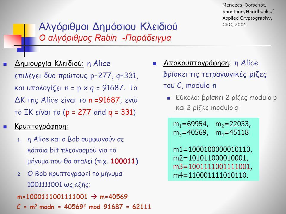 Αλγόριθμοι Δημόσιου Κλειδιού O αλγόριθμος Rabin -Παράδειγμα Δημιουργία Κλειδιού: η Alice επιλέγει δύο πρώτους p=277, q=331, και υπολογίζει n = p x q =