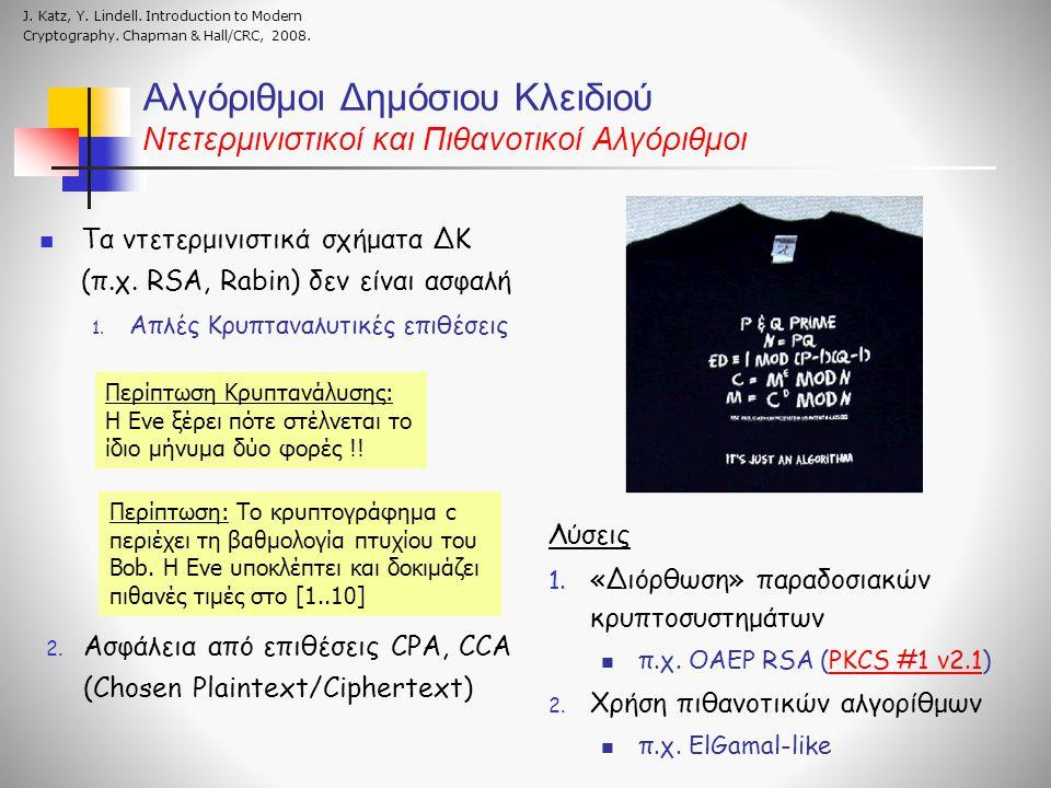Αλγόριθμοι Δημόσιου Κλειδιού Ντετερμινιστικοί και Πιθανοτικοί Αλγόριθμοι Τα ντετερμινιστικά σχήματα ΔΚ (π.χ. RSA, Rabin) δεν είναι ασφαλή 1. Απλές Κρυ