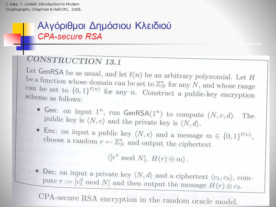 Αλγόριθμοι Δημόσιου Κλειδιού CPA-secure RSA J. Katz, Y. Lindell. Introduction to Modern Cryptography. Chapman & Hall/CRC, 2008.