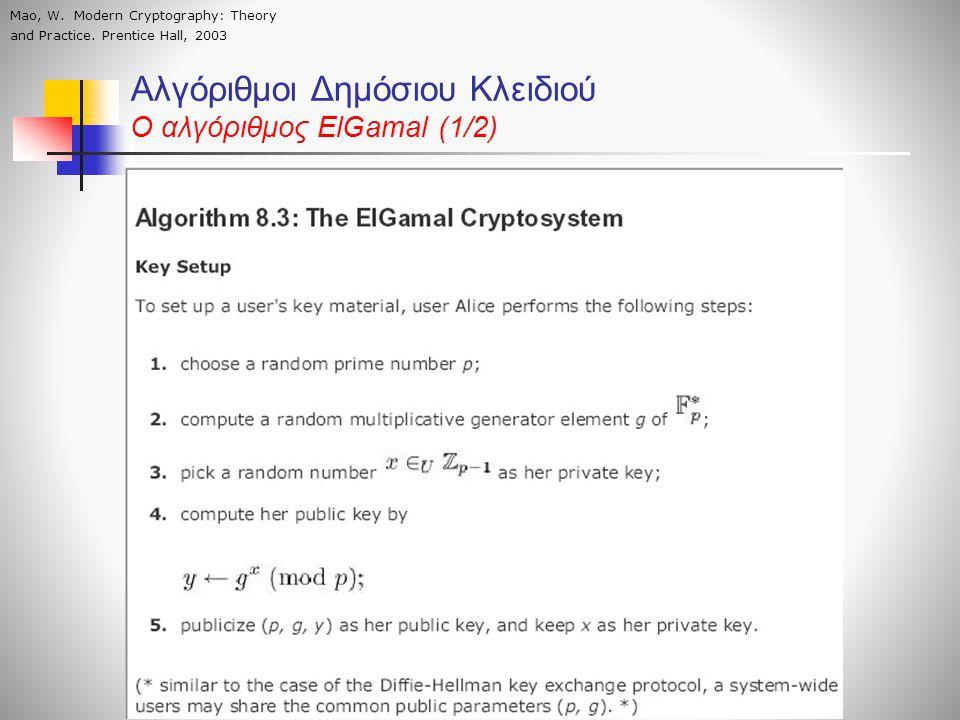 Αλγόριθμοι Δημόσιου Κλειδιού O αλγόριθμος ElGamal (1/2) Mao, W. Modern Cryptography: Theory and Practice. Prentice Hall, 2003