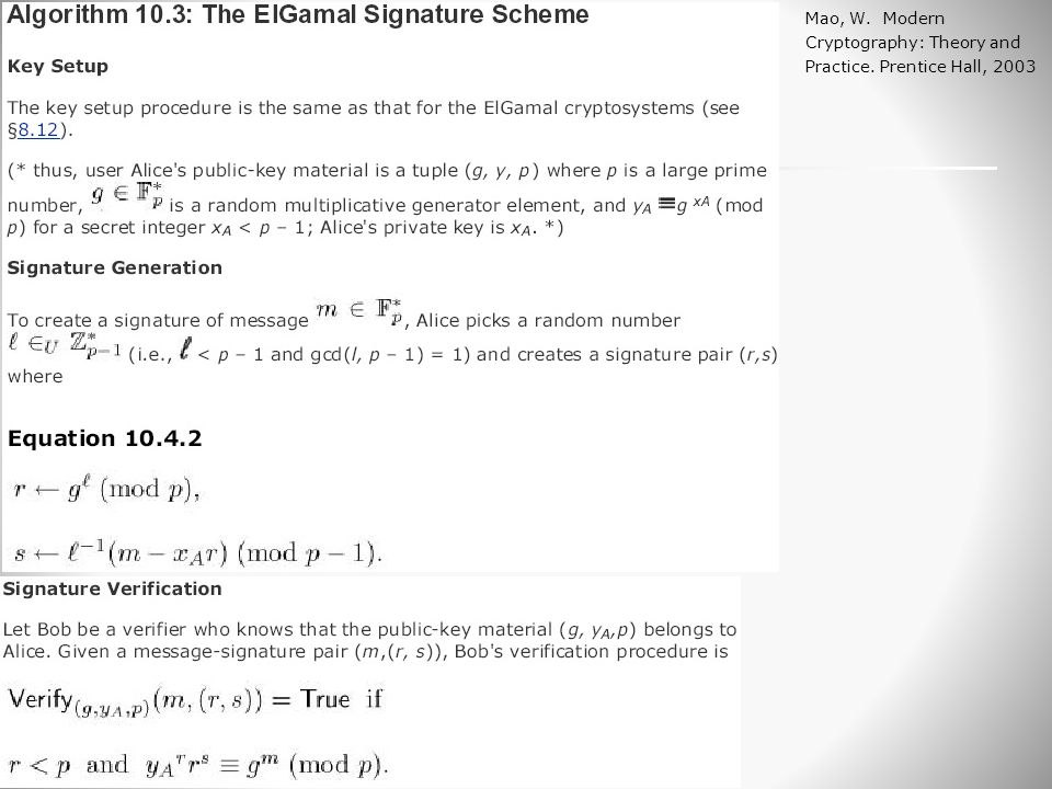 Ο αλγόριθμος ElGamal Signature Mao, W. Modern Cryptography: Theory and Practice. Prentice Hall, 2003