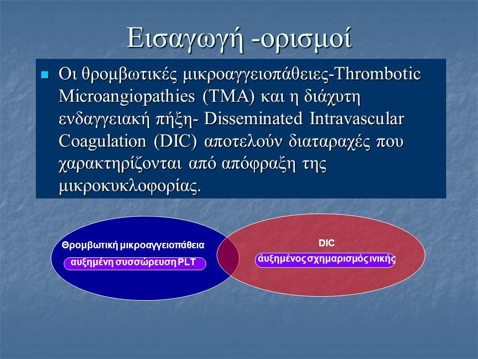 Εισαγωγή -ορισμοί Οι θρομβωτικές μικροαγγειοπάθειες-Thrombotic Μicroangiopathies (TMA) και η διάχυτη ενδαγγειακή πήξη- Disseminated Intravascular Coag