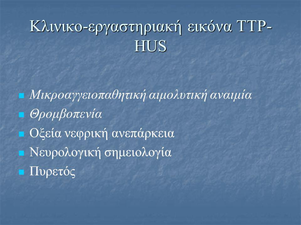 Μικροαγγειοπαθητική αιμολυτική αναιμία Hb < 10 g/dl Hb < 10 g/dl βαρύτερη σε TTP: στο 40% Hb<6.5g/dl βαρύτερη σε TTP: στο 40% Hb<6.5g/dl Δείκτες αιμόλυσης Δείκτες αιμόλυσης ↑ ΔΕΚ, ↑ LDH, έμμεση υπερχολερυθριναιμία ↑ ΔΕΚ, ↑ LDH, έμμεση υπερχολερυθριναιμία ↓ Απτοσφαιρίνες ορού, ↑ ελεύθερη κυκλοφορούσα Hb ↓ Απτοσφαιρίνες ορού, ↑ ελεύθερη κυκλοφορούσα Hb Αρνητική άμεση Coombs Αρνητική άμεση Coombs εξαίρεση: TMA από πνευμονιόκοκκο-νευραμινιδάση εξαίρεση: TMA από πνευμονιόκοκκο-νευραμινιδάση Επίχρισμα περιφερικού αίματος: σχιστοκύτταρα > 2- 4 % Επίχρισμα περιφερικού αίματος: σχιστοκύτταρα > 2- 4 % Helmet cells Helmet cells D+ HUS: λευκοκυττάρωση (WBC>20.000) με αριστερή στροφή D+ HUS: λευκοκυττάρωση (WBC>20.000) με αριστερή στροφή