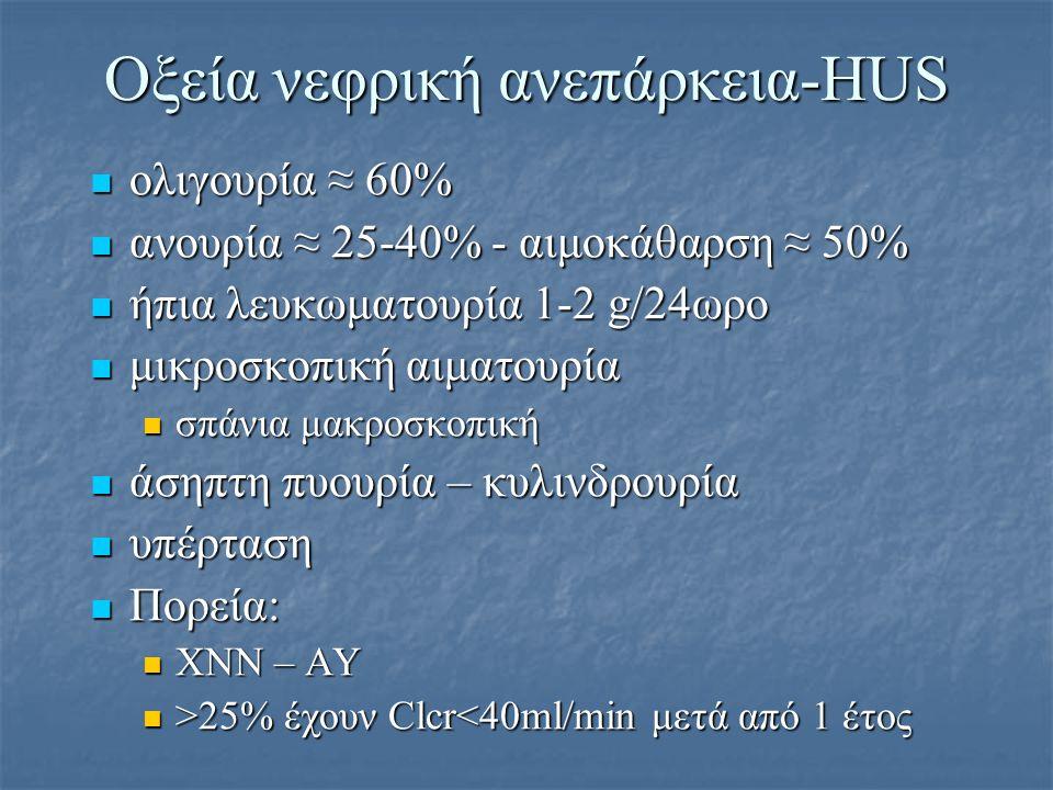 Οξεία νεφρική ανεπάρκεια-HUS ολιγουρία ≈ 60% ολιγουρία ≈ 60% ανουρία ≈ 25-40% - αιμοκάθαρση ≈ 50% ανουρία ≈ 25-40% - αιμοκάθαρση ≈ 50% ήπια λευκωματου