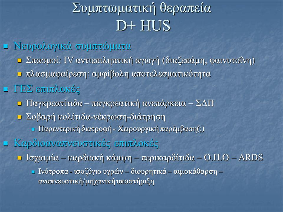 Θεραπεία D+ HUS Αντιδιαρροϊκά: Αντένδειξη Αντιδιαρροϊκά: Αντένδειξη παραμονή βακτηριακού φορτίου– επιδείνωση συμπτωματολογίας παραμονή βακτηριακού φορτίου– επιδείνωση συμπτωματολογίας Αντιβιοτικά: Αντένδειξη Αντιβιοτικά: Αντένδειξη επιδείνωση συμπτωματολογίας – απελευθέρωση ενδοτοξινών επιδείνωση συμπτωματολογίας – απελευθέρωση ενδοτοξινών Μοναδική ένδειξη: HUS από Shigella → βακτηριαιμία → σήψη Μοναδική ένδειξη: HUS από Shigella → βακτηριαιμία → σήψη SYNSORB-Pk: oral Stx Binding agent SYNSORB-Pk: oral Stx Binding agent Δε βελτίωσε το κλινικό αποτέλεσμα Δε βελτίωσε το κλινικό αποτέλεσμα Αντιθρομβωτικοί παράγοντες: Αντένδειξη Αντιθρομβωτικοί παράγοντες: Αντένδειξη Ουροκινάση, ηπαρίνη, διπυριδαμόλη: κίνδυνος αιμορραγίας Ουροκινάση, ηπαρίνη, διπυριδαμόλη: κίνδυνος αιμορραγίας Στεροειδή: Αντένδειξη Στεροειδή: Αντένδειξη Αναποτελεσματικά – κίνδυνος διάτρησης εντέρου στην ενεργό κολίτιδα Αναποτελεσματικά – κίνδυνος διάτρησης εντέρου στην ενεργό κολίτιδα