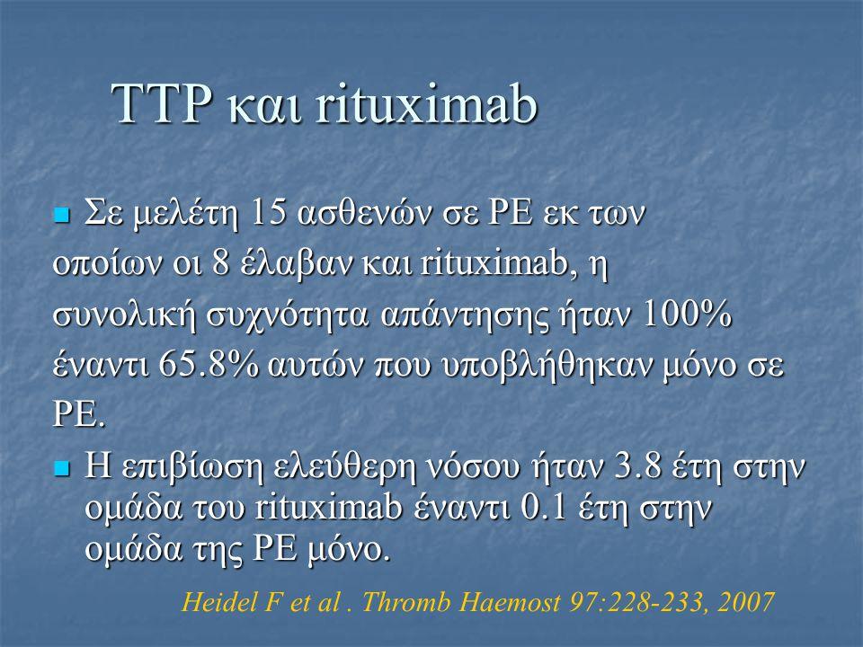ΤΤΡ και rituximab Σε μελέτη 15 ασθενών σε ΡΕ εκ των Σε μελέτη 15 ασθενών σε ΡΕ εκ των οποίων οι 8 έλαβαν και rituximab, η συνολική συχνότητα απάντησης