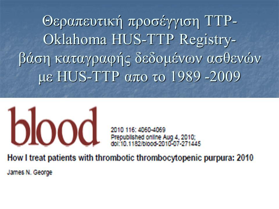 Θεραπευτική προσέγγιση ΤΤΡ- Oklahoma HUS-TTP Registry- βάση καταγραφής δεδομένων ασθενών με HUS-TTP απο το 1989 -2009