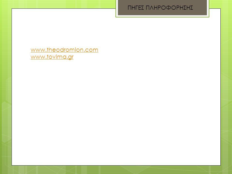 ΠΗΓΕΣ ΠΛΗΡΟΦΟΡΗΣΗΣ www.theodromion.com www.tovima.gr