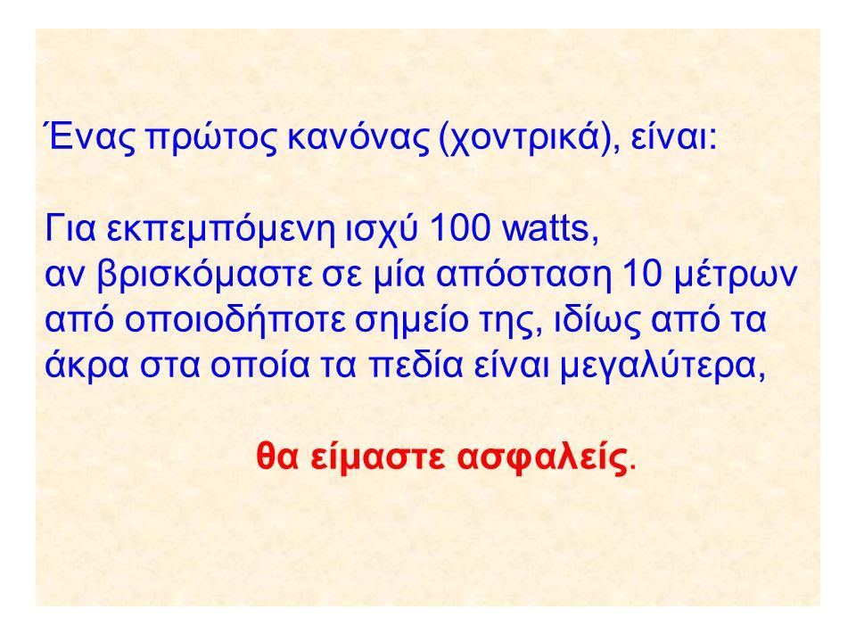 Ένας πρώτος κανόνας (χοντρικά), είναι: Για εκπεμπόμενη ισχύ 100 watts, αν βρισκόμαστε σε μία απόσταση 10 μέτρων από οποιοδήποτε σημείο της, ιδίως από