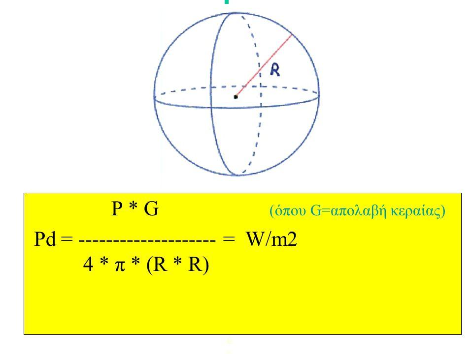 PPd = --------------------- = W/m2 4 * π * (R * R) (όπου P=ισχύς σε Watt, π=3.14, R=απόσταση μέτρα)PPd = --------------------- = W/m2 4 * π * (R * R)