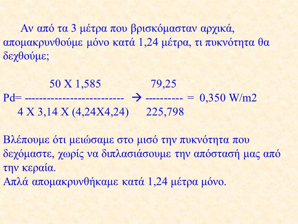 Αν από τα 3 μέτρα που βρισκόμασταν αρχικά, απομακρυνθούμε μόνο κατά 1,24 μέτρα, τι πυκνότητα θα δεχθούμε; 50 X 1,585 79,25 Pd= -----------------------