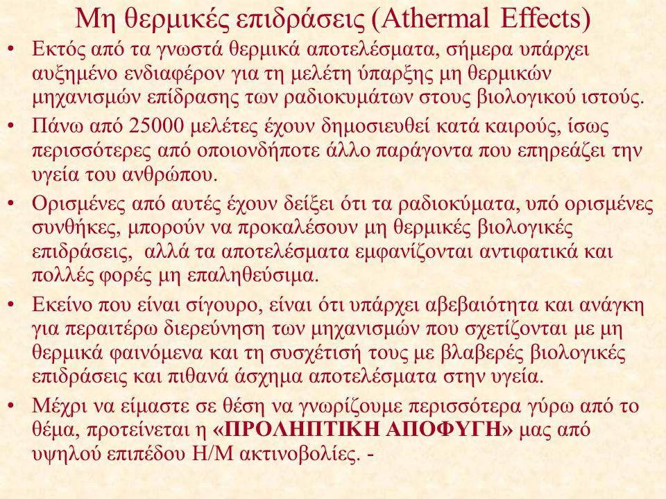 Μη θερμικές επιδράσεις (Athermal Effects) Εκτός από τα γνωστά θερμικά αποτελέσματα, σήμερα υπάρχει αυξημένο ενδιαφέρον για τη μελέτη ύπαρξης μη θερμικ