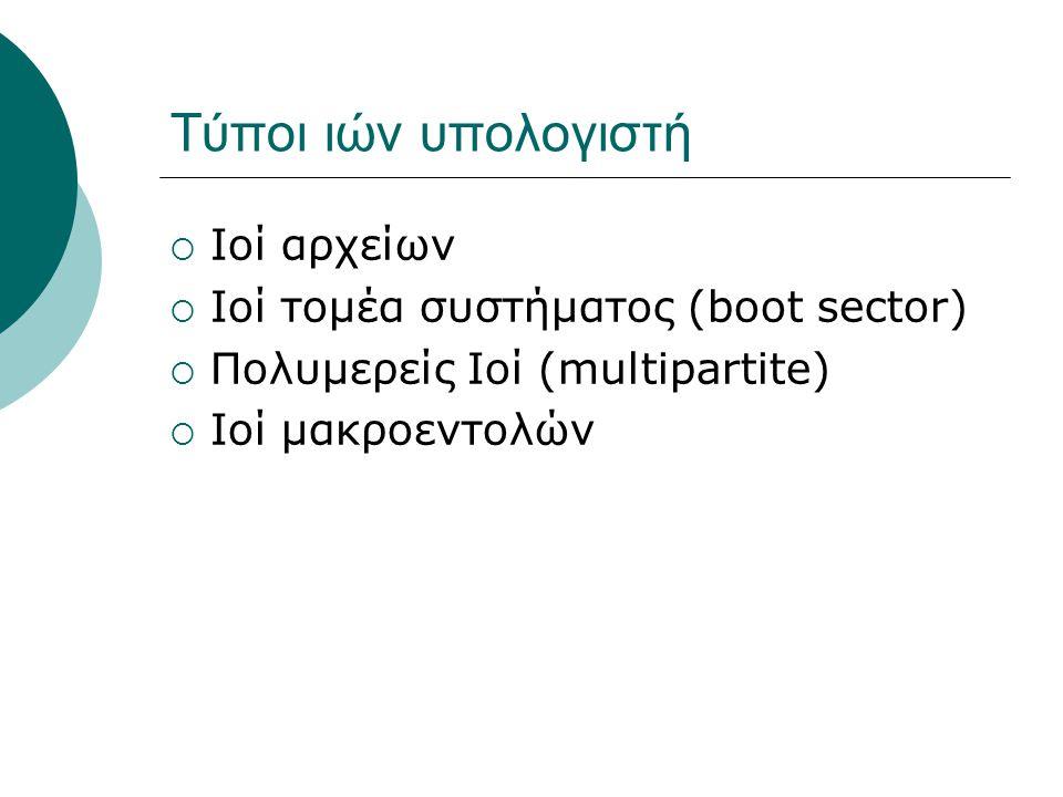 Τύποι ιών υπολογιστή  Ιοί αρχείων  Ιοί τομέα συστήματος (boot sector)  Πολυμερείς Ιοί (multipartite)  Ιοί μακροεντολών