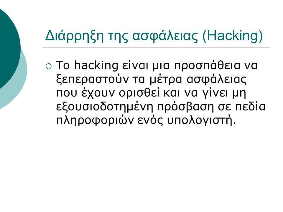 Διάρρηξη της ασφάλειας (Hacking)  To hacking είναι μια προσπάθεια να ξεπεραστούν τα μέτρα ασφάλειας που έχουν ορισθεί και να γίνει μη εξουσιοδοτημένη