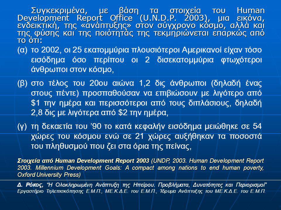 Συγκεκριμένα, με βάση τα στοιχεία του Human Development Report Office (U.N.D.P.