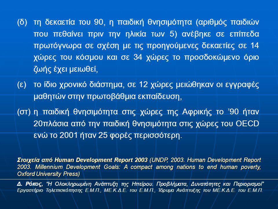 (δ)τη δεκαετία του 90, η παιδική θνησιμότητα (αριθμός παιδιών που πεθαίνει πριν την ηλικία των 5) ανέβηκε σε επίπεδα πρωτόγνωρα σε σχέση με τις προηγούμενες δεκαετίες σε 14 χώρες του κόσμου και σε 34 χώρες το προσδοκώμενο όριο ζωής έχει μειωθεί, (ε)το ίδιο χρονικό διάστημα, σε 12 χώρες μειώθηκαν οι εγγραφές μαθητών στην πρωτοβάθμια εκπαίδευση, (στ)η παιδική θνησιμότητα στις χώρες της Αφρικής το '90 ήταν 20πλάσια από την παιδική θνησιμότητα στις χώρες του OECD ενώ το 2001 ήταν 25 φορές περισσότερη.