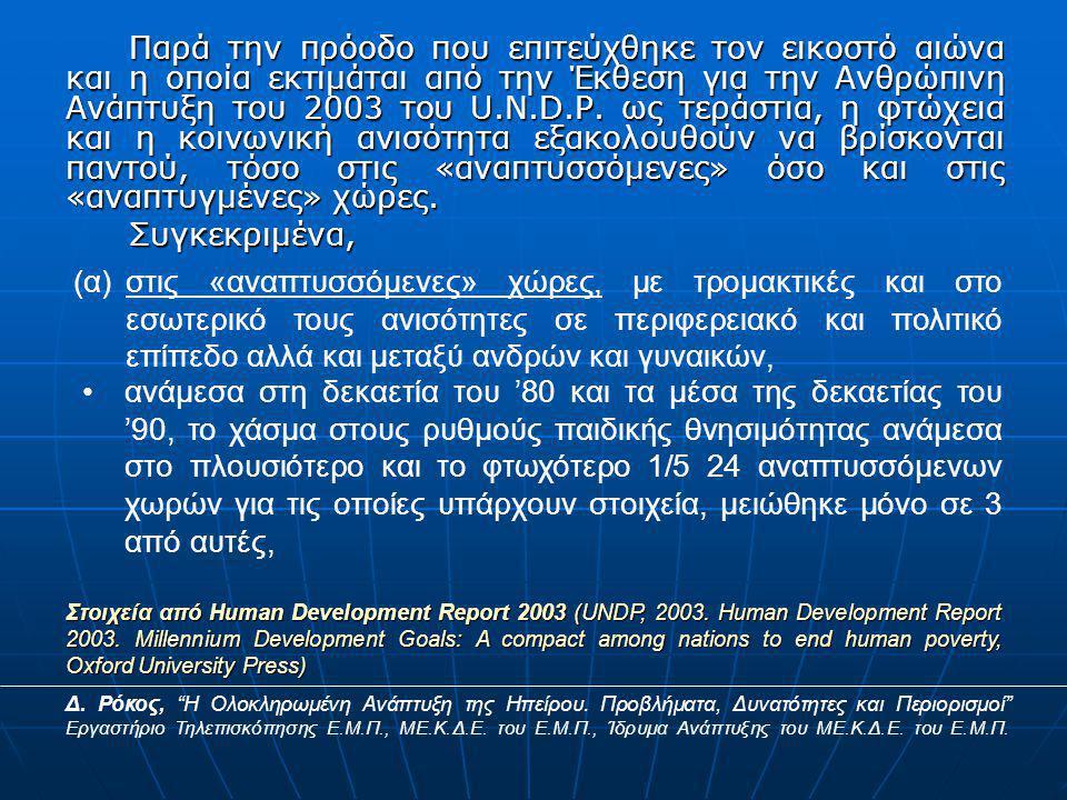 Παρά την πρόοδο που επιτεύχθηκε τον εικοστό αιώνα και η οποία εκτιμάται από την Έκθεση για την Ανθρώπινη Ανάπτυξη του 2003 του U.N.D.P.