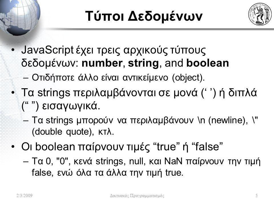 Τύποι Δεδομένων JavaScript έχει τρεις αρχικούς τύπους δεδομένων: number, string, and boolean –Οτιδήποτε άλλο είναι αντικείμενο (object). Τα strings πε