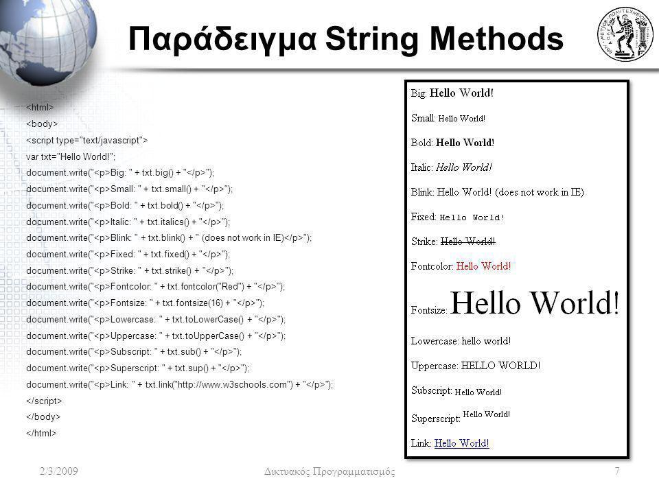 Παράδειγμα String Methods var txt=
