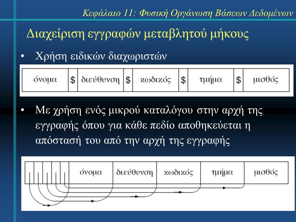 Κεφάλαιο 11: Φυσική Οργάνωση Βάσεων Δεδομένων Διαχείριση εγγραφών μεταβλητού μήκους Χρήση ειδικών διαχωριστών Με χρήση ενός μικρού καταλόγου στην αρχή της εγγραφής όπου για κάθε πεδίο αποθηκεύεται η απόστασή του από την αρχή της εγγραφής
