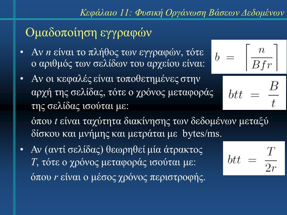 Κεφάλαιο 11: Φυσική Οργάνωση Βάσεων Δεδομένων Ομαδοποίηση εγγραφών Αν n είναι το πλήθος των εγγραφών, τότε ο αριθμός των σελίδων του αρχείου είναι: Αν οι κεφαλές είναι τοποθετημένες στην αρχή της σελίδας, τότε ο χρόνος μεταφοράς της σελίδας ισούται με: όπου t είναι ταχύτητα διακίνησης των δεδομένων μεταξύ δίσκου και μνήμης και μετράται με bytes/ms.