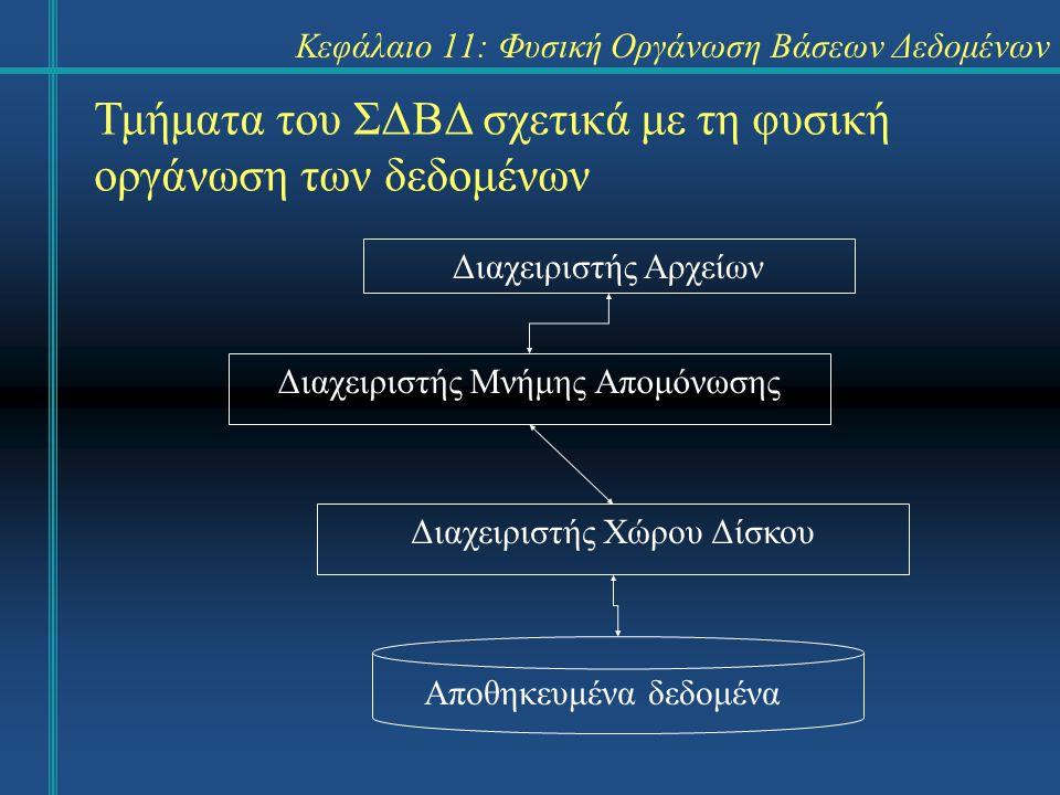 Κεφάλαιο 11: Φυσική Οργάνωση Βάσεων Δεδομένων Σύνοψη Η φυσική οργάνωση των δεδομένων της βάσης σχετίζεται άμεσα με την απόδοση του συστήματος.
