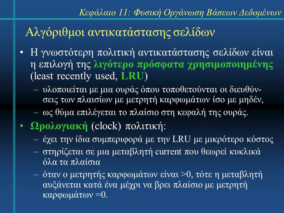 Κεφάλαιο 11: Φυσική Οργάνωση Βάσεων Δεδομένων Αλγόριθμοι αντικατάστασης σελίδων Η γνωστότερη πολιτική αντικατάστασης σελίδων είναι η επιλογή της λιγότερο πρόσφατα χρησιμοποιημένης (least recently used, LRU) –υλοποιείται με μια ουράς όπου τοποθετούνται οι διευθύν- σεις των πλαισίων με μετρητή καρφωμάτων ίσο με μηδέν, –ως θύμα επιλέγεται το πλαίσιο στη κεφαλή της ουράς.