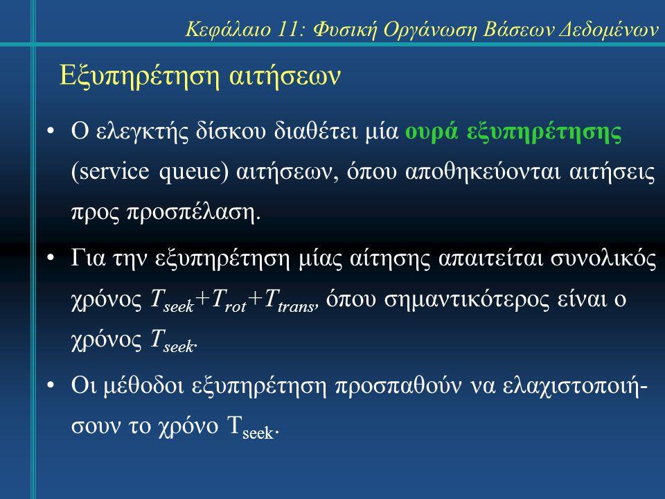 Κεφάλαιο 11: Φυσική Οργάνωση Βάσεων Δεδομένων Εξυπηρέτηση αιτήσεων Ο ελεγκτής δίσκου διαθέτει μία ουρά εξυπηρέτησης (service queue) αιτήσεων, όπου αποθηκεύονται αιτήσεις προς προσπέλαση.