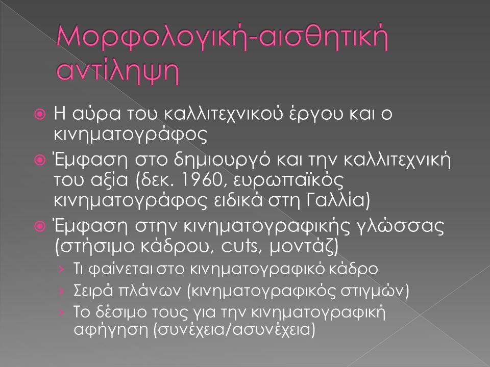  Η αύρα του καλλιτεχνικού έργου και ο κινηματογράφος  Έμφαση στο δημιουργό και την καλλιτεχνική του αξία (δεκ. 1960, ευρωπαϊκός κινηματογράφος ειδικ