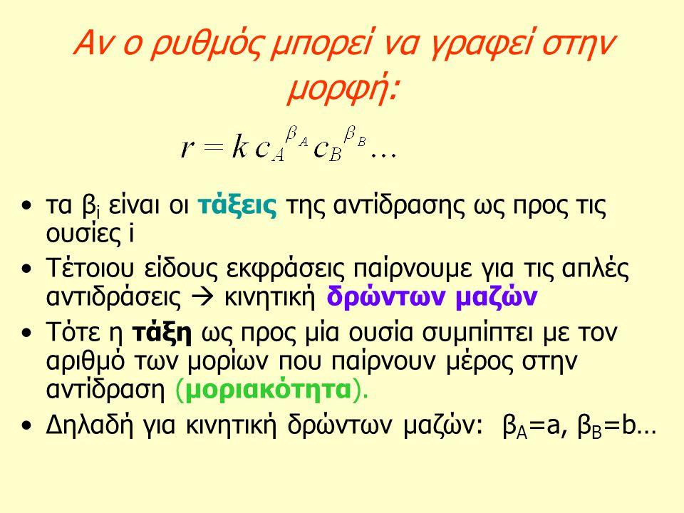 Αν ο ρυθμός μπορεί να γραφεί στην μορφή: τα β i είναι οι τάξεις της αντίδρασης ως προς τις ουσίες i Τέτοιου είδους εκφράσεις παίρνουμε για τις απλές α
