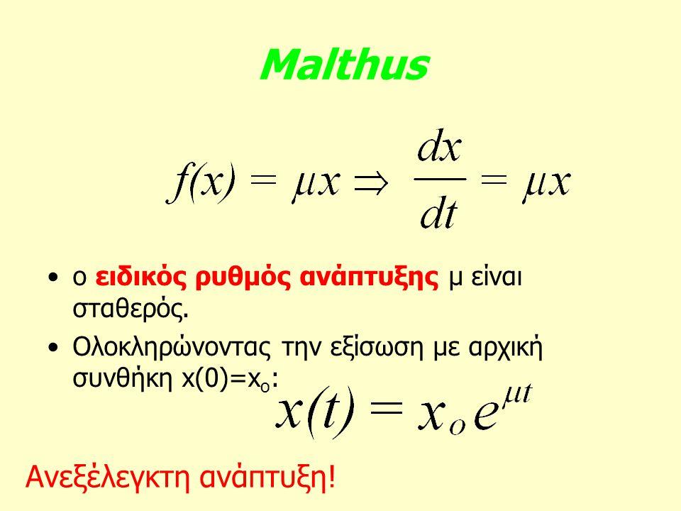 Malthus ο ειδικός ρυθμός ανάπτυξης μ είναι σταθερός. Ολοκληρώνοντας την εξίσωση με αρχική συνθήκη x(0)=x o : Ανεξέλεγκτη ανάπτυξη!