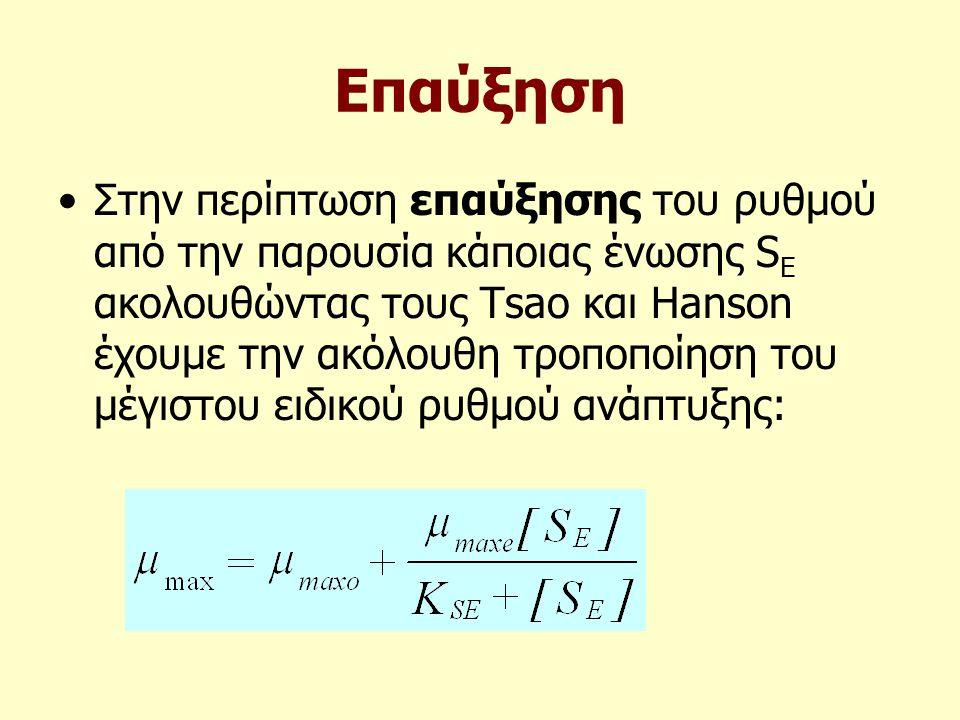Επαύξηση Στην περίπτωση επαύξησης του ρυθμού από την παρουσία κάποιας ένωσης S E ακολουθώντας τους Tsao και Hanson έχουμε την ακόλουθη τροποποίηση του