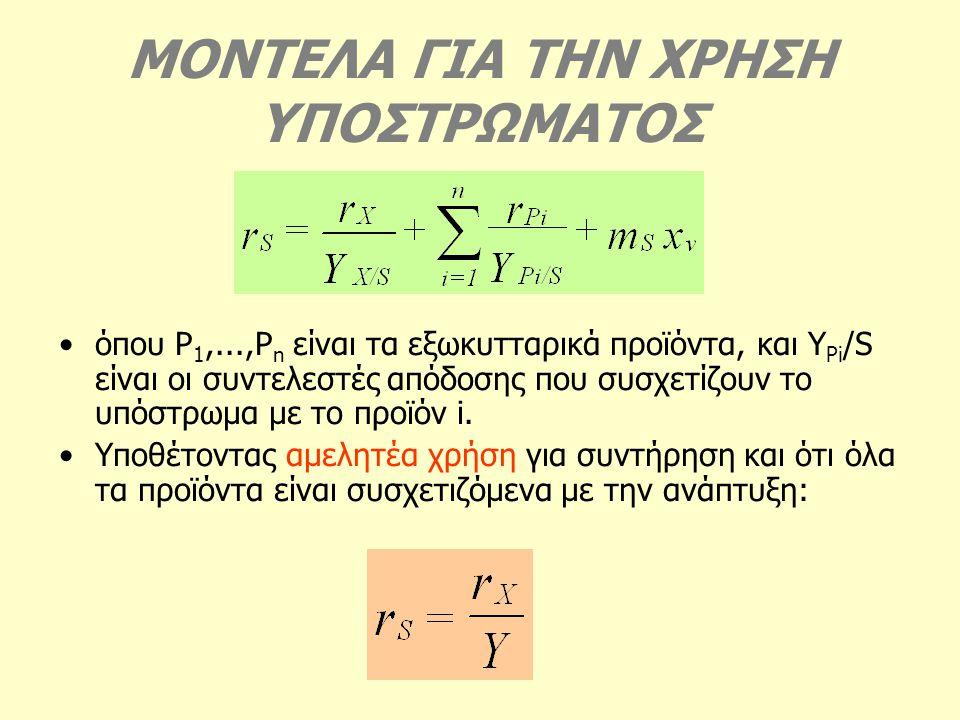ΜΟΝΤΕΛΑ ΓΙΑ ΤΗΝ ΧΡΗΣΗ ΥΠΟΣΤΡΩΜΑΤΟΣ όπου P 1,...,P n είναι τα εξωκυτταρικά προϊόντα, και Y Pi /S είναι οι συντελεστές απόδοσης που συσχετίζουν το υπόστ