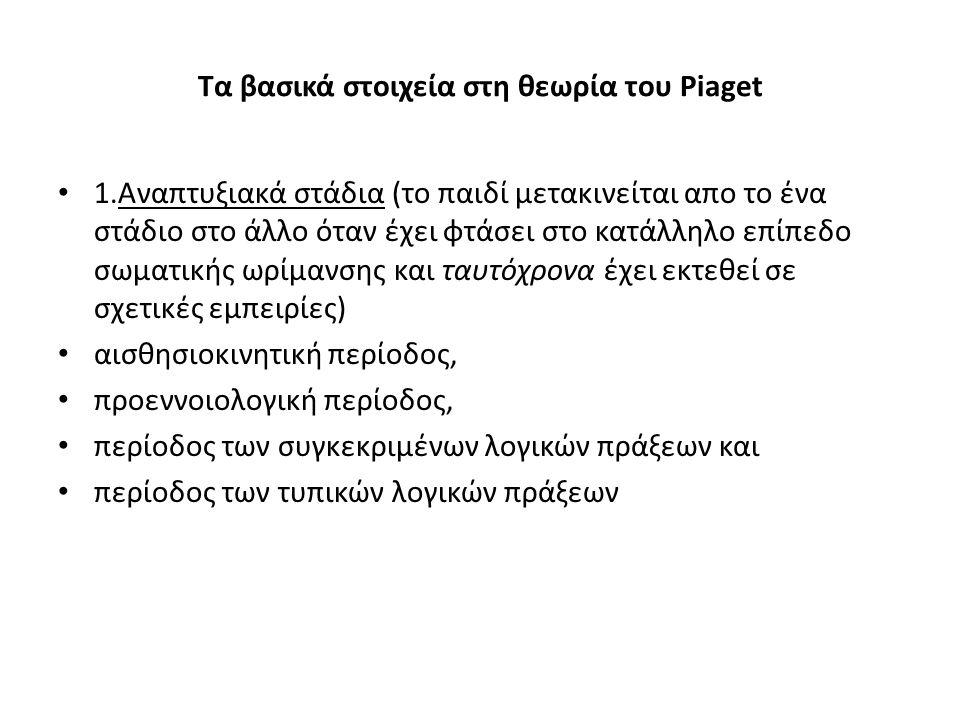 Τα βασικά στοιχεία στη θεωρία του Piaget 1.Aναπτυξιακά στάδια (το παιδί μετακινείται απο το ένα στάδιο στο άλλο όταν έχει φτάσει στο κατάλληλο επίπεδο